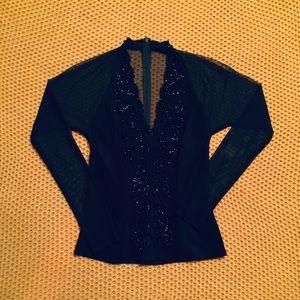 Sheer Long-Sleeved Black Blouse